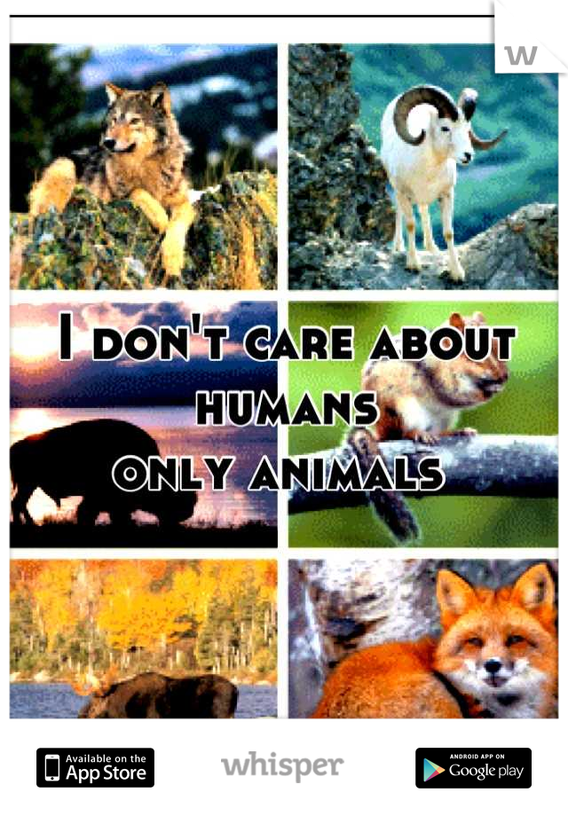 I don't care about humans  only animals
