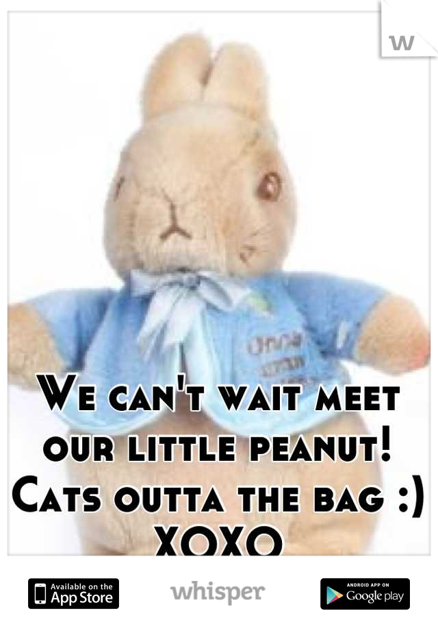 We can't wait meet our little peanut! Cats outta the bag :) XOXO