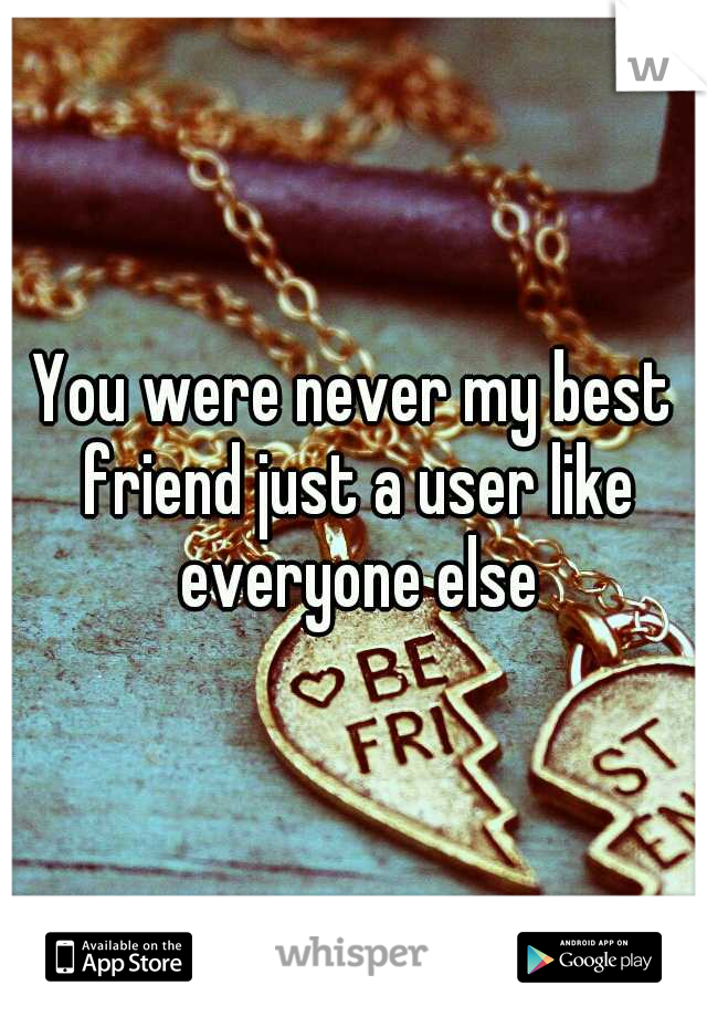 You were never my best friend just a user like everyone else