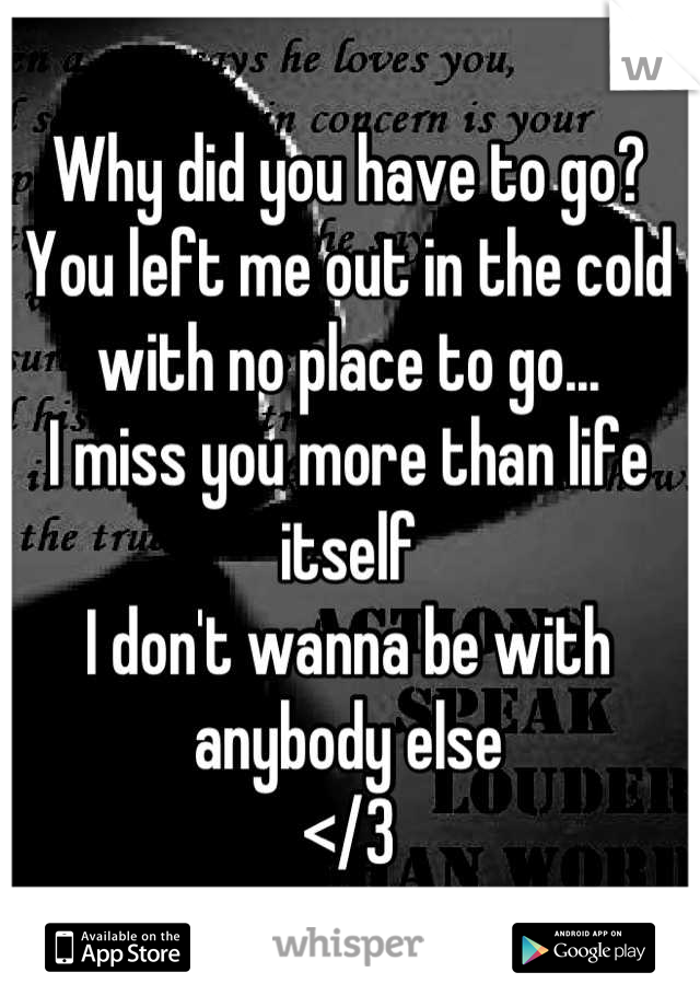 Why did you have to go? You left me out in the cold with no place to go... I miss you more than life itself  I don't wanna be with anybody else </3