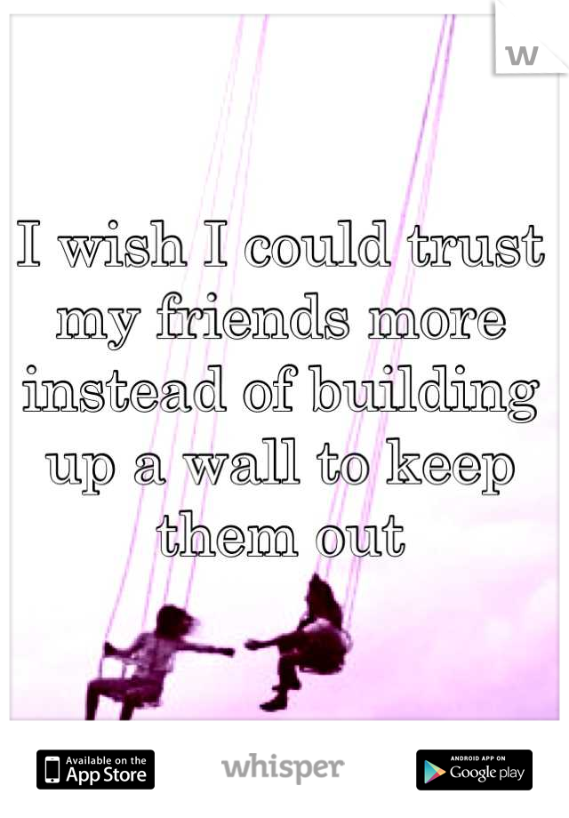 I wish I could trust my friends more instead of building up a wall to keep them out