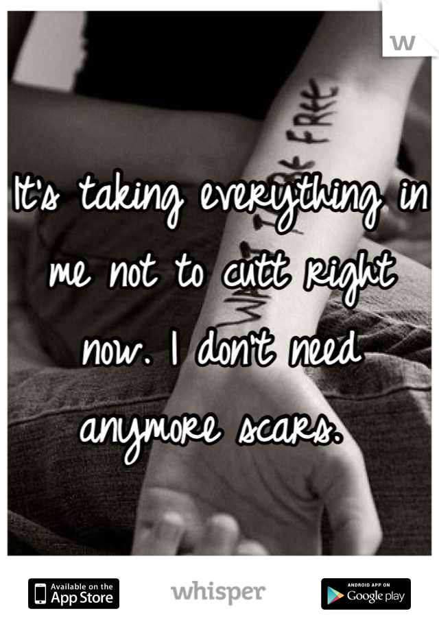 It's taking everything in me not to cutt right now. I don't need anymore scars.