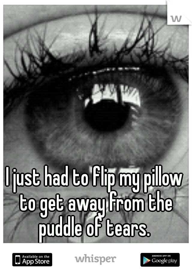 I just had to flip my pillow to get away from the puddle of tears.
