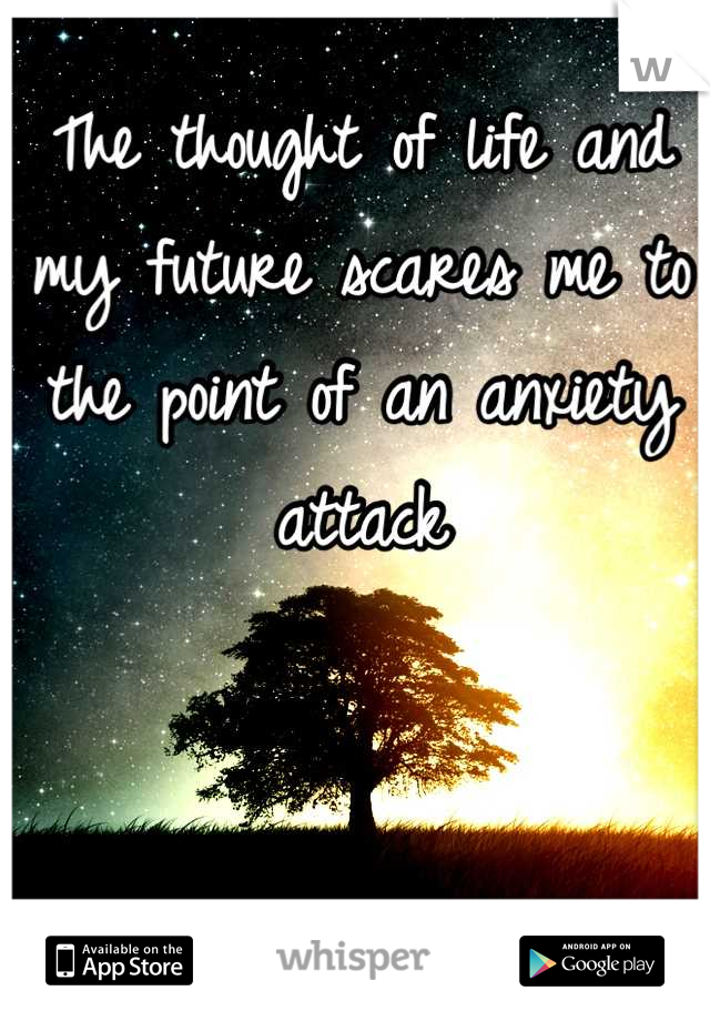 The thought of life and my future scares me to the point of an anxiety attack