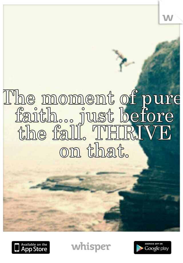 The moment of pure faith... just before the fall. THRIVE on that.