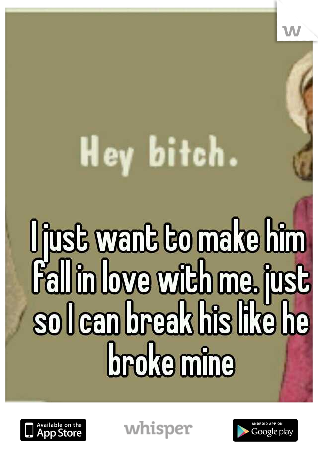 I just want to make him fall in love with me. just so I can break his like he broke mine