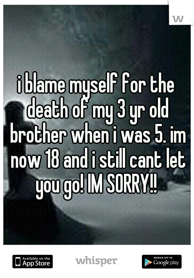 i blame myself for the death of my 3 yr old brother when i was 5. im now 18 and i still cant let you go! IM SORRY!!