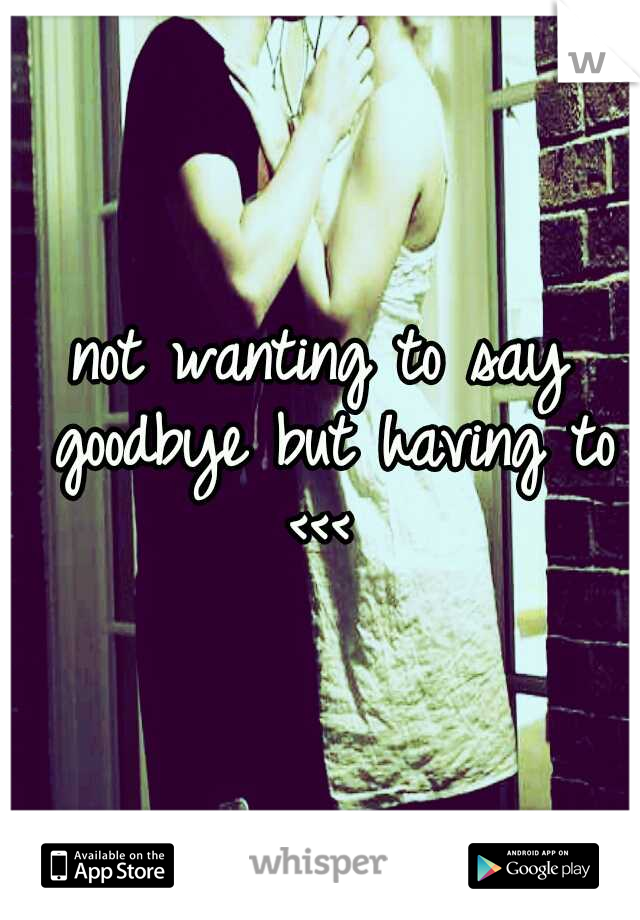 not wanting to say goodbye but having to <<<