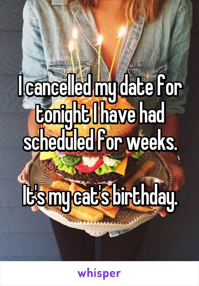 I cancelled my date for tonight I have had scheduled for weeks.  It's my cat's birthday.