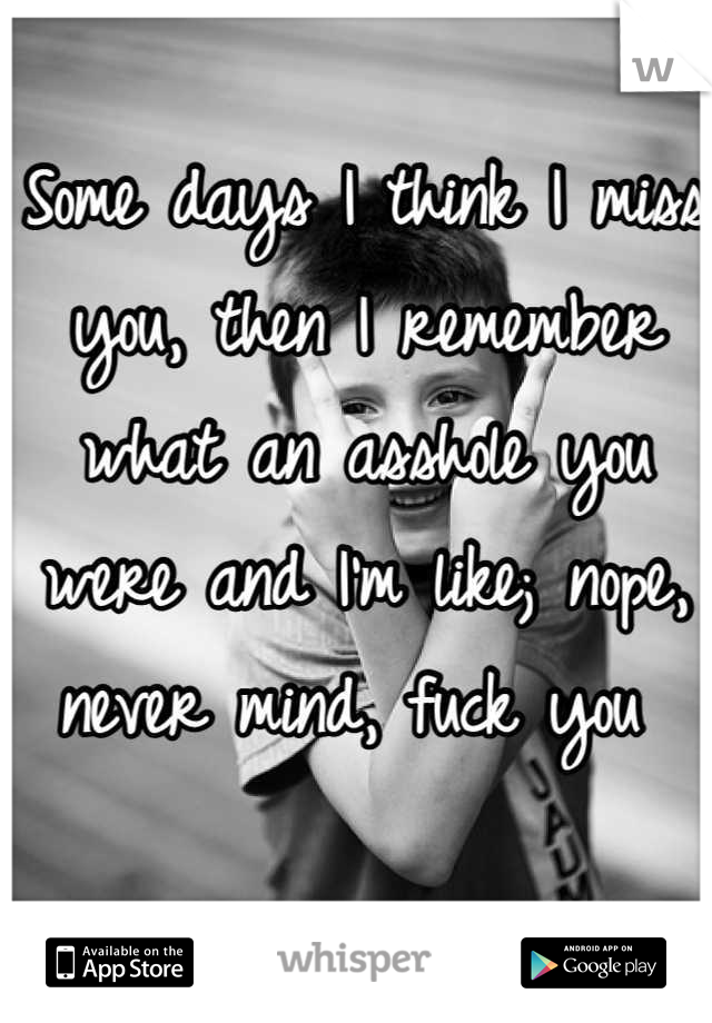 Some days I think I miss you, then I remember what an asshole you were and I'm like; nope, never mind, fuck you