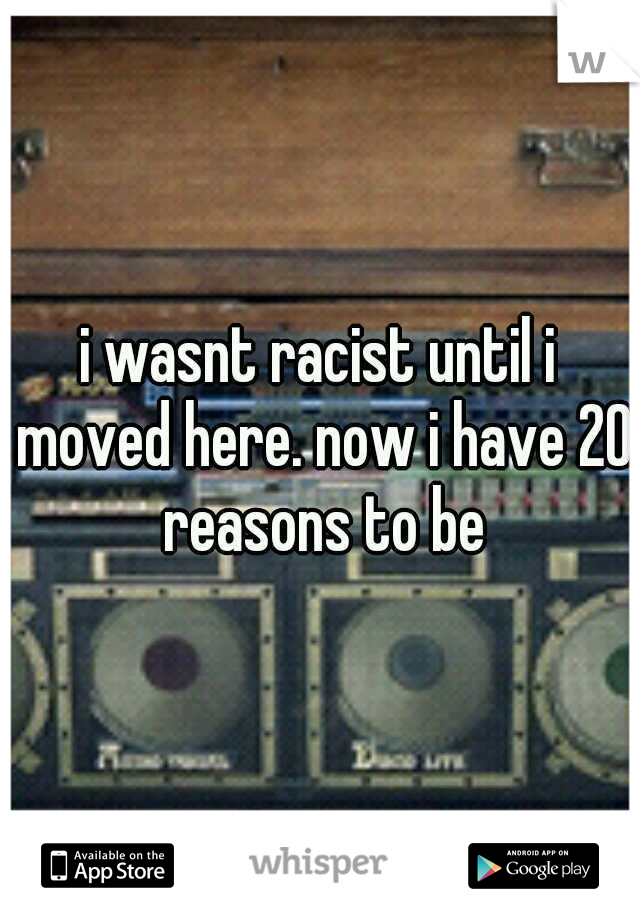 i wasnt racist until i moved here. now i have 20 reasons to be