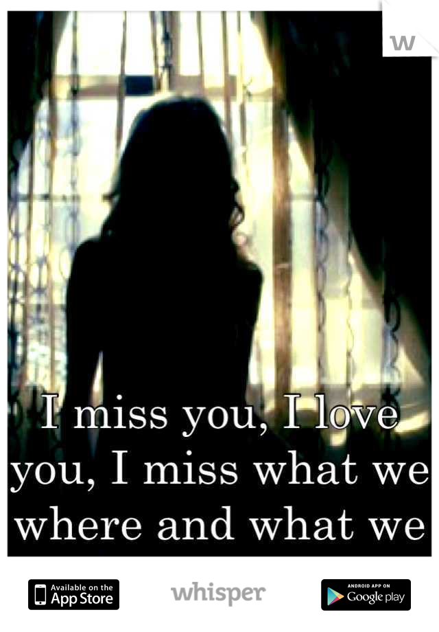 I miss you, I love you, I miss what we where and what we had