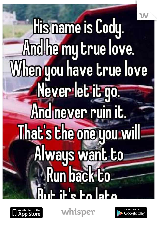 His name is Cody.  And he my true love. When you have true love Never let it go. And never ruin it. That's the one you will Always want to  Run back to But it's to late.