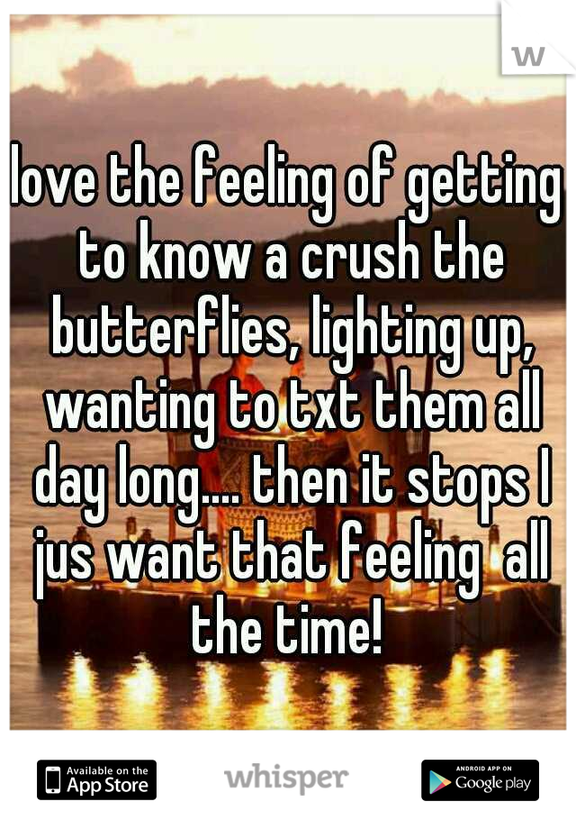love the feeling of getting to know a crush the butterflies, lighting up, wanting to txt them all day long.... then it stops I jus want that feeling  all the time!