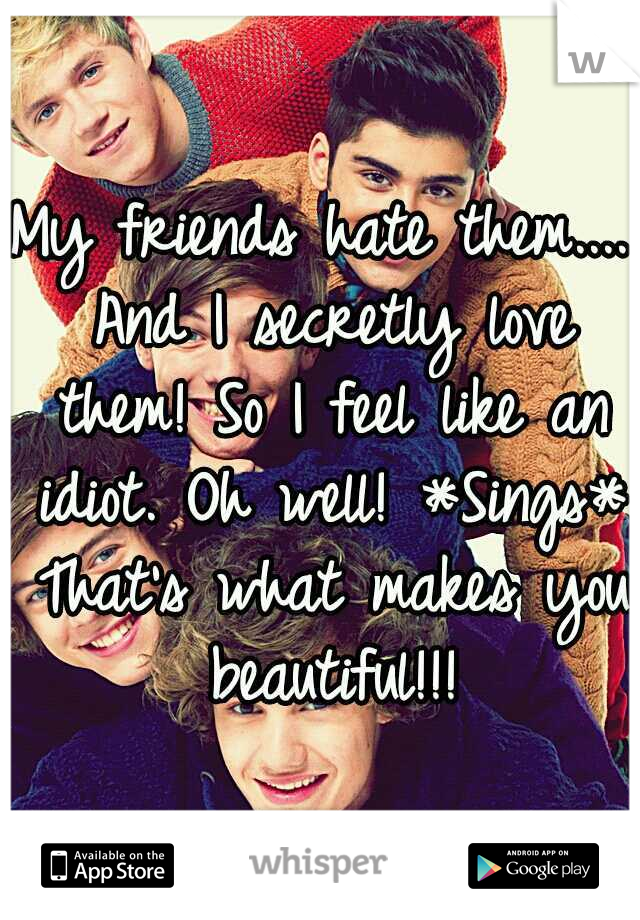 My friends hate them.... And I secretly love them! So I feel like an idiot. Oh well! *Sings* That's what makes you beautiful!!!