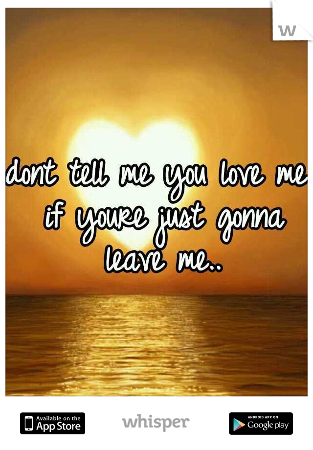 dont tell me you love me if youre just gonna leave me..