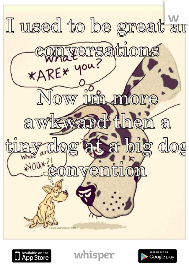 I used to be great at conversations  Now im more awkward then a tiny dog at a big dog convention