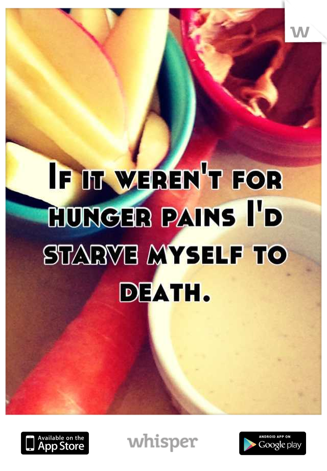 If it weren't for hunger pains I'd starve myself to death.