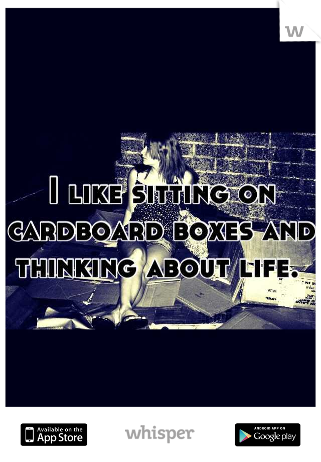 I like sitting on cardboard boxes and thinking about life.