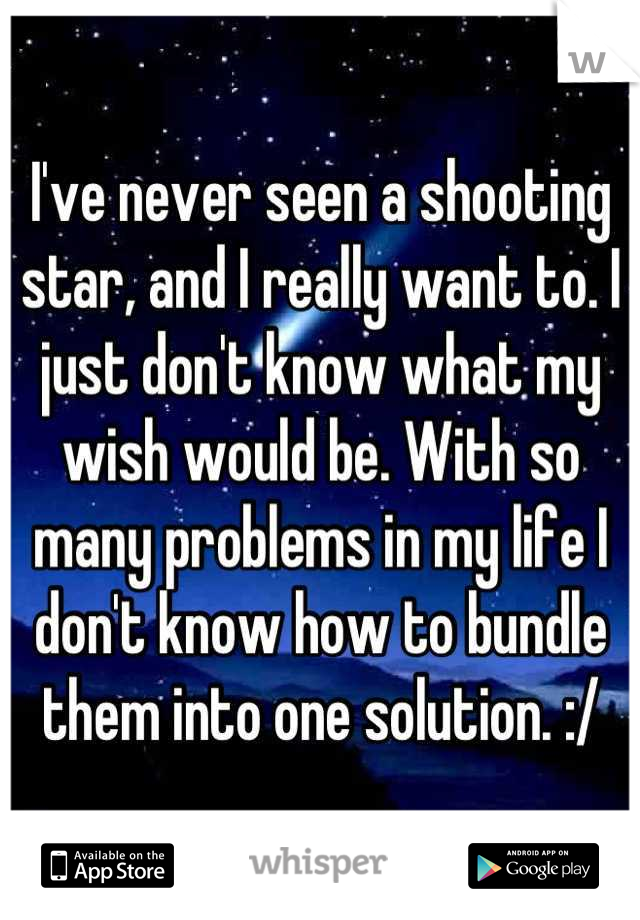 I've never seen a shooting star, and I really want to. I just don't know what my wish would be. With so many problems in my life I don't know how to bundle them into one solution. :/