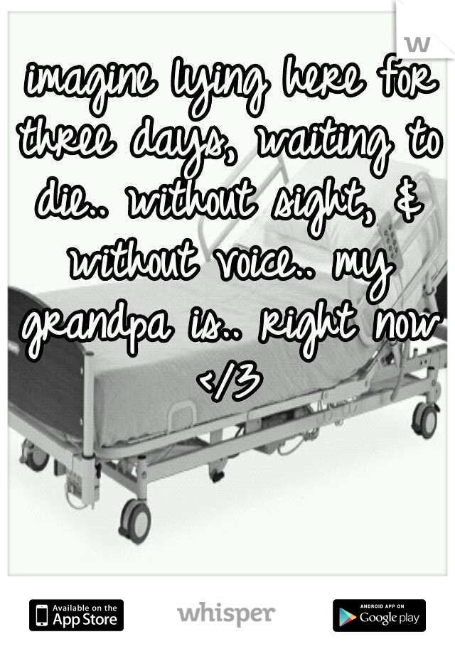 imagine lying here for three days, waiting to die.. without sight, & without voice.. my grandpa is.. right now </3
