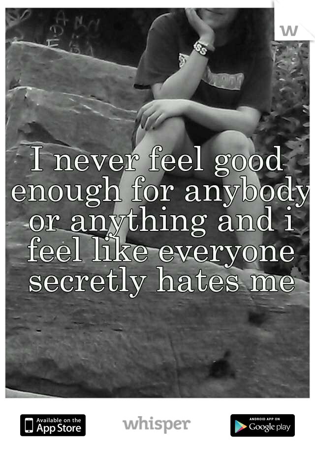 I never feel good enough for anybody or anything and i feel like everyone secretly hates me