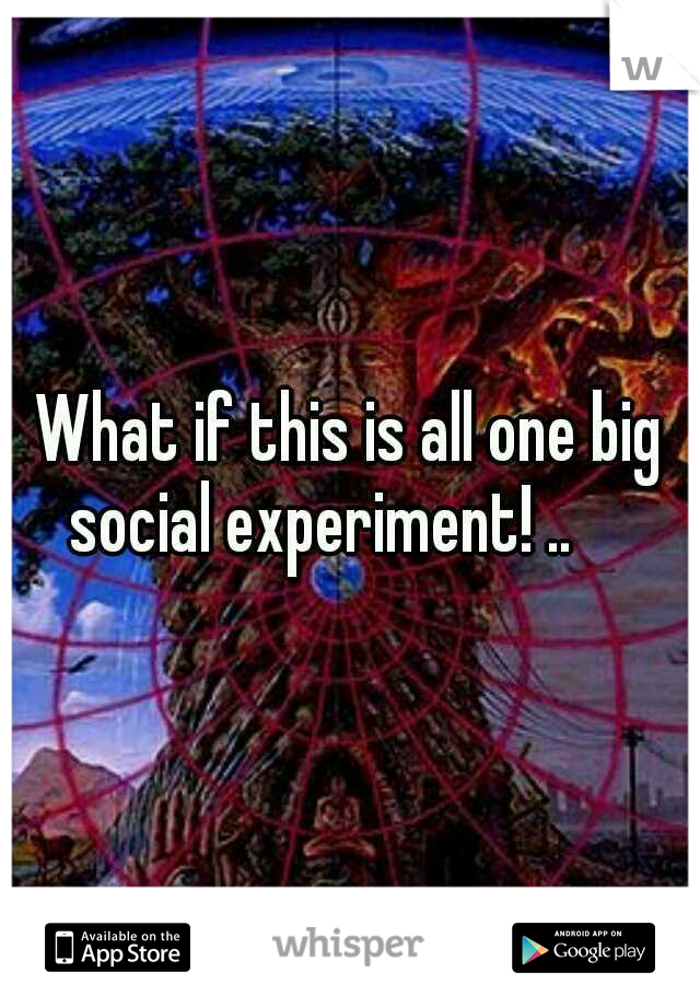 What if this is all one big social experiment! ..