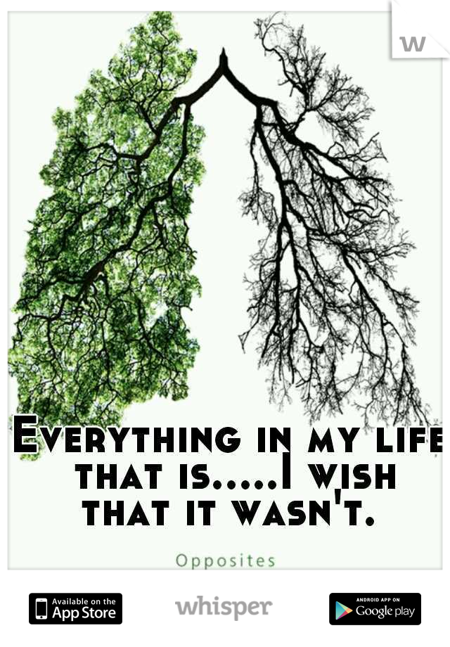 Everything in my life that is.....I wish that it wasn't.