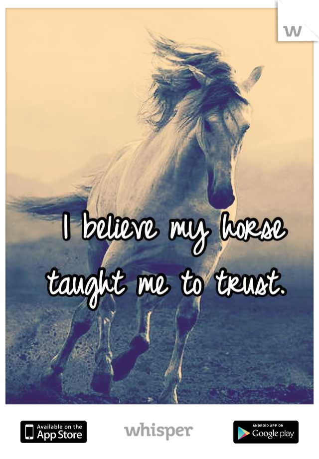 I believe my horse taught me to trust.