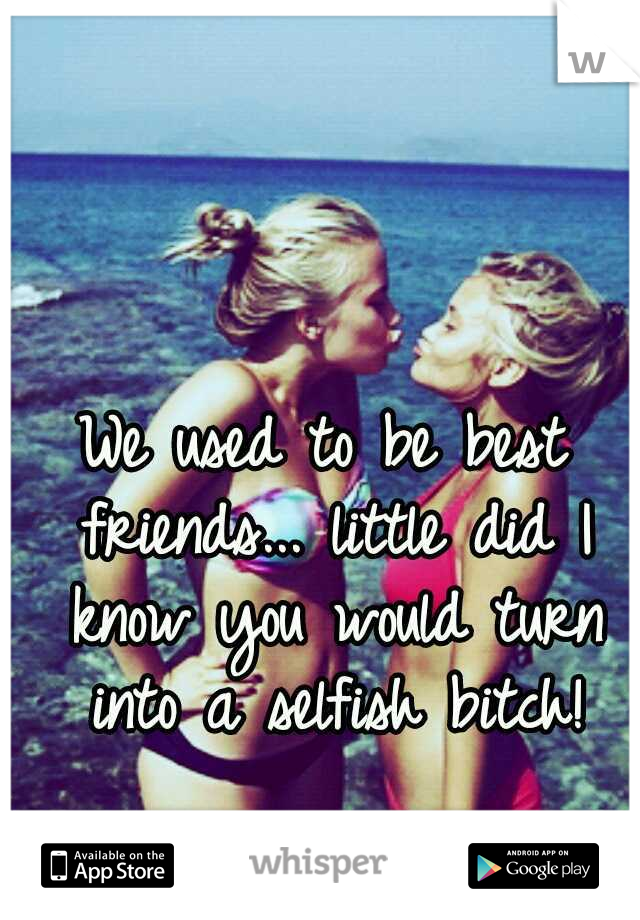 We used to be best friends... little did I know you would turn into a selfish bitch!