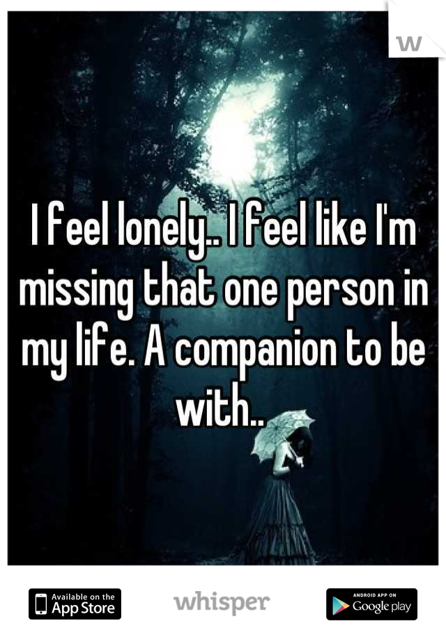 I feel lonely.. I feel like I'm missing that one person in my life. A companion to be with..