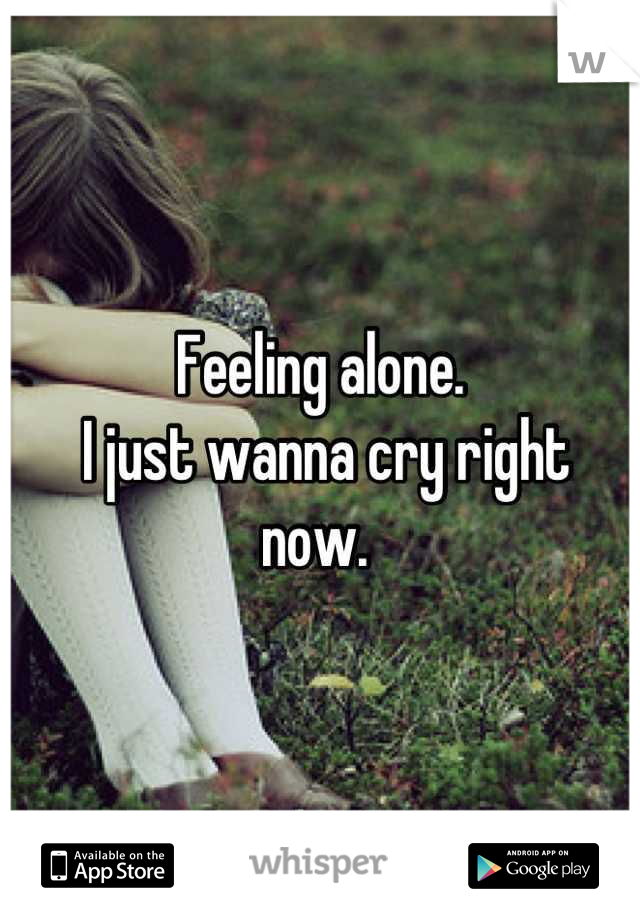 Feeling alone.  I just wanna cry right now.