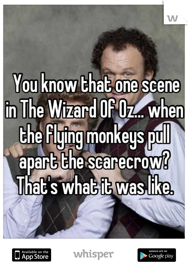 You know that one scene in The Wizard Of Oz... when the flying monkeys pull apart the scarecrow?  That's what it was like.
