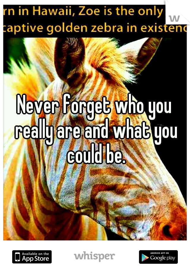 Never forget who you really are and what you could be.