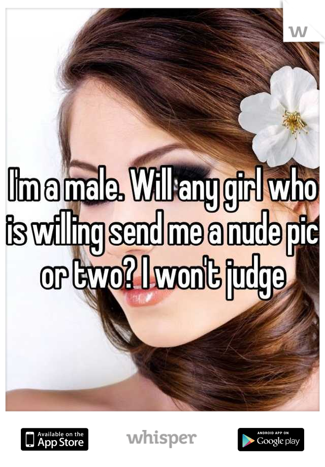 I'm a male. Will any girl who is willing send me a nude pic or two? I won't judge