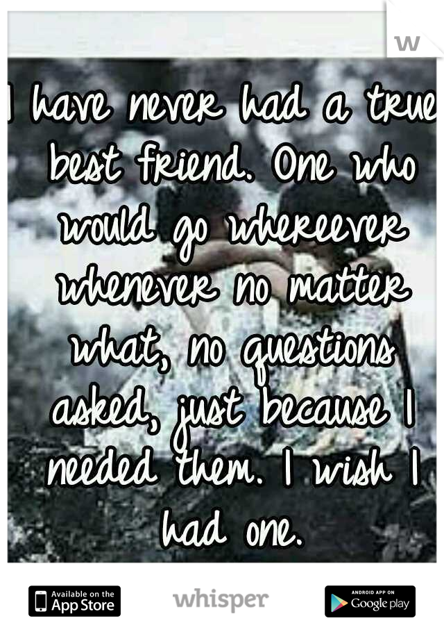 I have never had a true best friend. One who would go whereever whenever no matter what, no questions asked, just because I needed them. I wish I had one.
