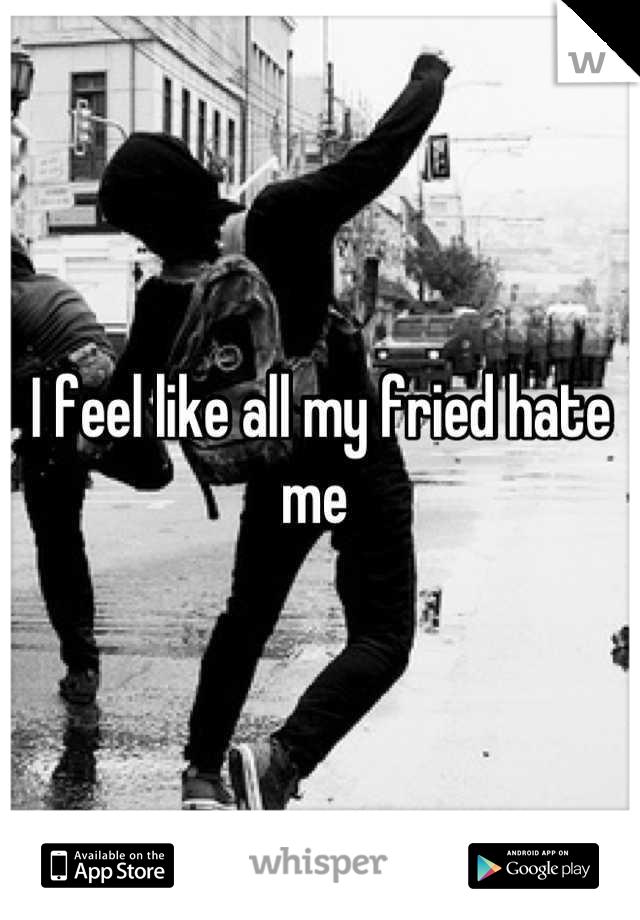I feel like all my fried hate me