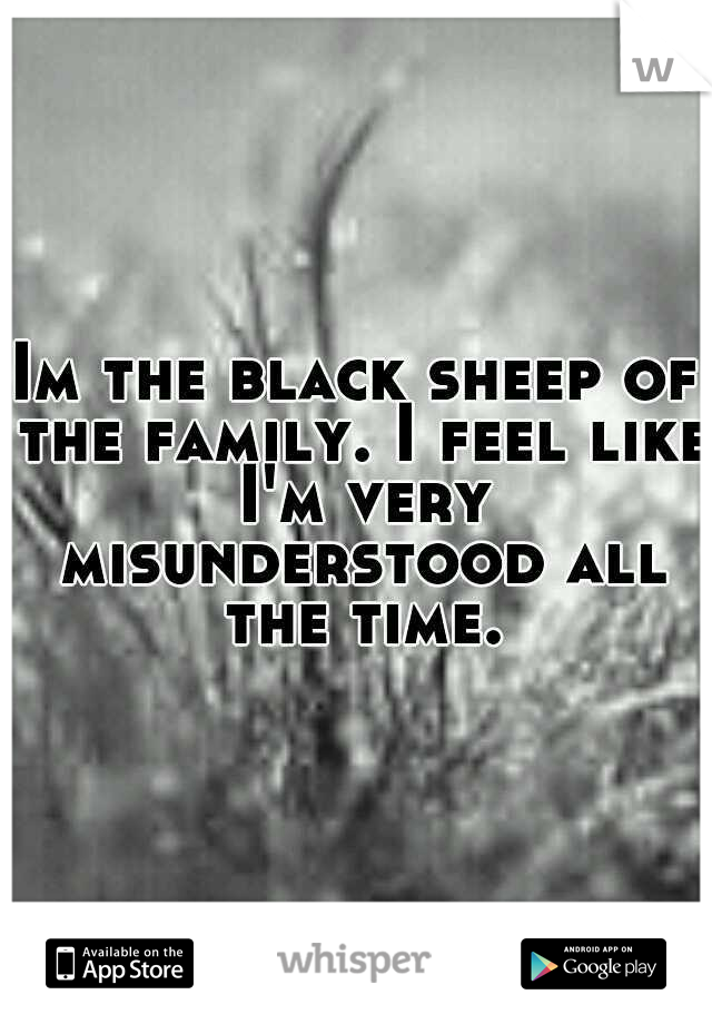 Im the black sheep of the family. I feel like I'm very misunderstood all the time.