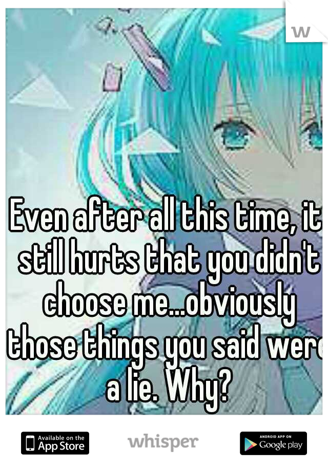Even after all this time, it still hurts that you didn't choose me...obviously those things you said were a lie. Why?