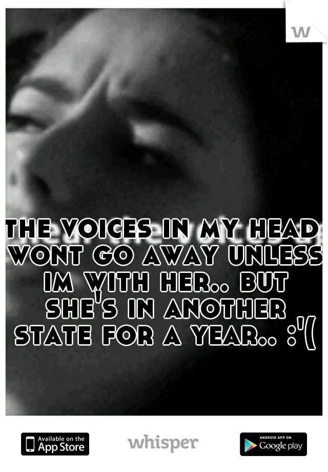 the voices in my head wont go away unless im with her.. but she's in another state for a year.. :'(