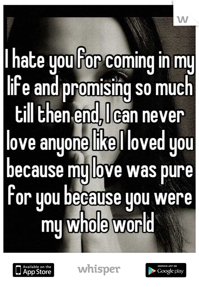 I hate you for coming in my life and promising so much till then end, I can never love anyone like I loved you because my love was pure for you because you were my whole world