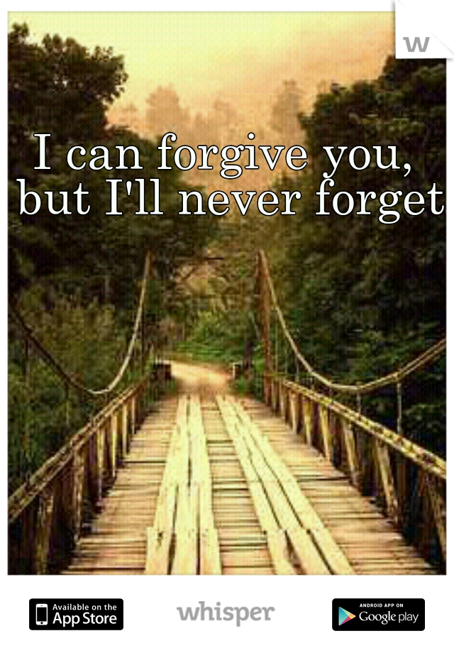 I can forgive you, but I'll never forget.