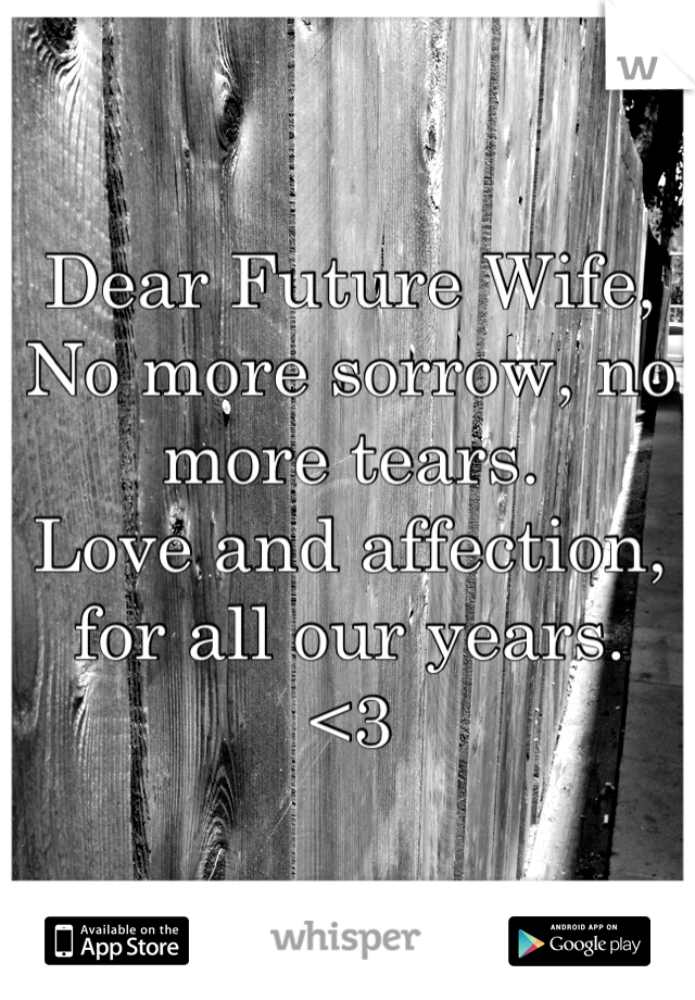 Dear Future Wife, No more sorrow, no more tears. Love and affection, for all our years. <3