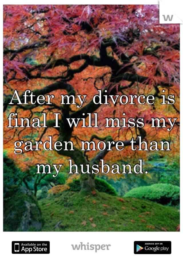 After my divorce is final I will miss my garden more than my husband.