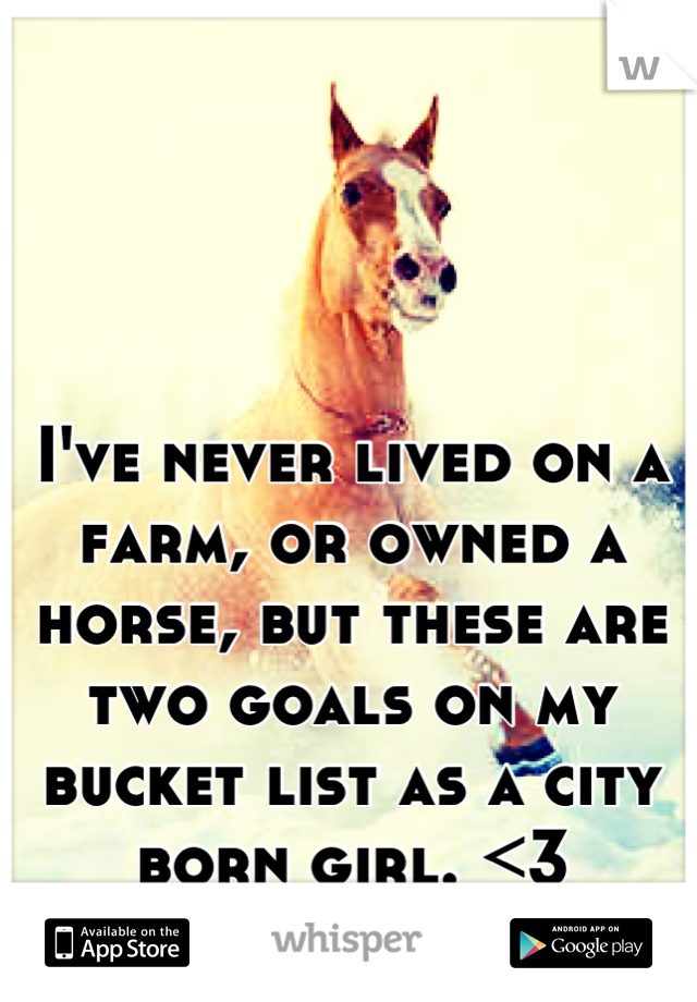 I've never lived on a farm, or owned a horse, but these are two goals on my bucket list as a city born girl. <3