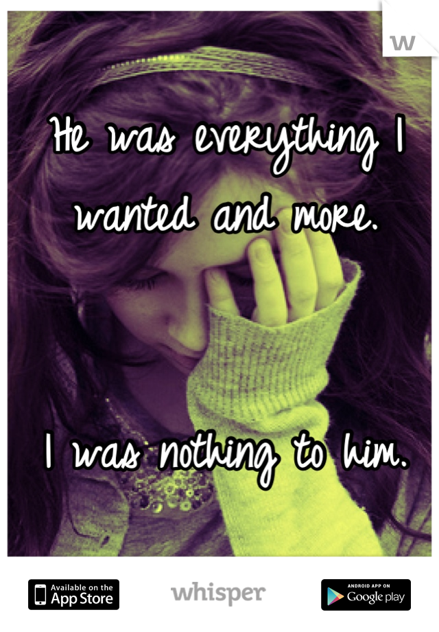 He was everything I wanted and more.    I was nothing to him.