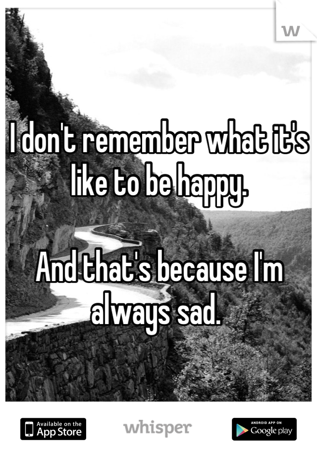 I don't remember what it's like to be happy.  And that's because I'm always sad.