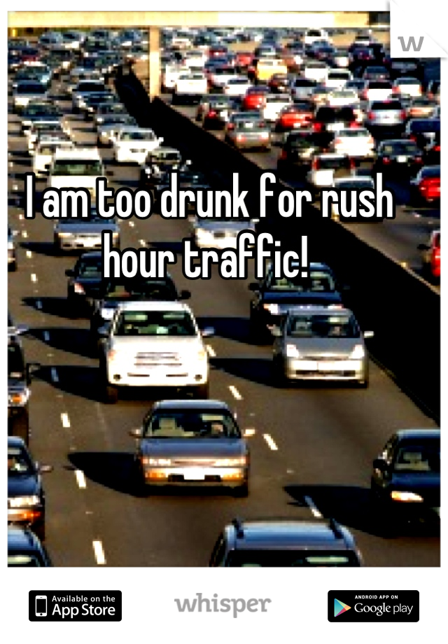 I am too drunk for rush hour traffic!