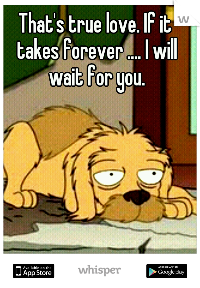 That's true love. If it takes forever .... I will wait for you.