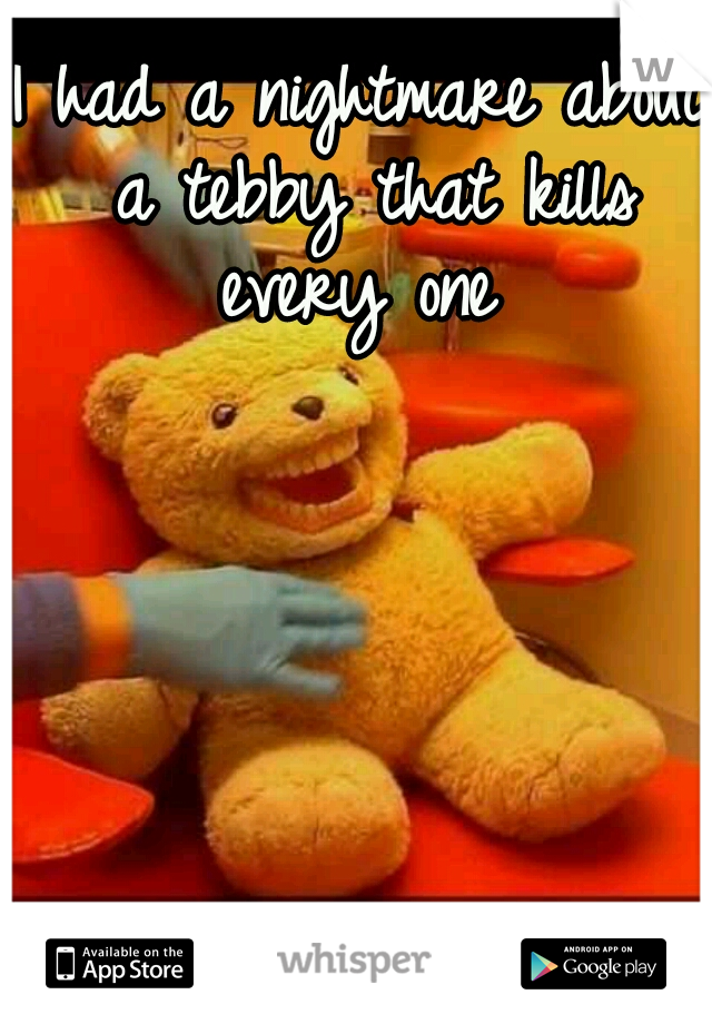 I had a nightmare about a tebby that kills every one